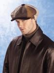 Model in newsboy cap.