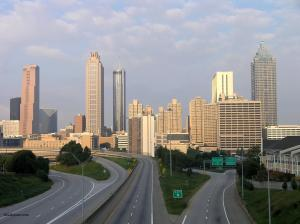 Atlanta skyline and highways
